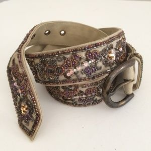 """FOSSIL   Beaded Canvas Belt with Bronze Buckle 42"""""""